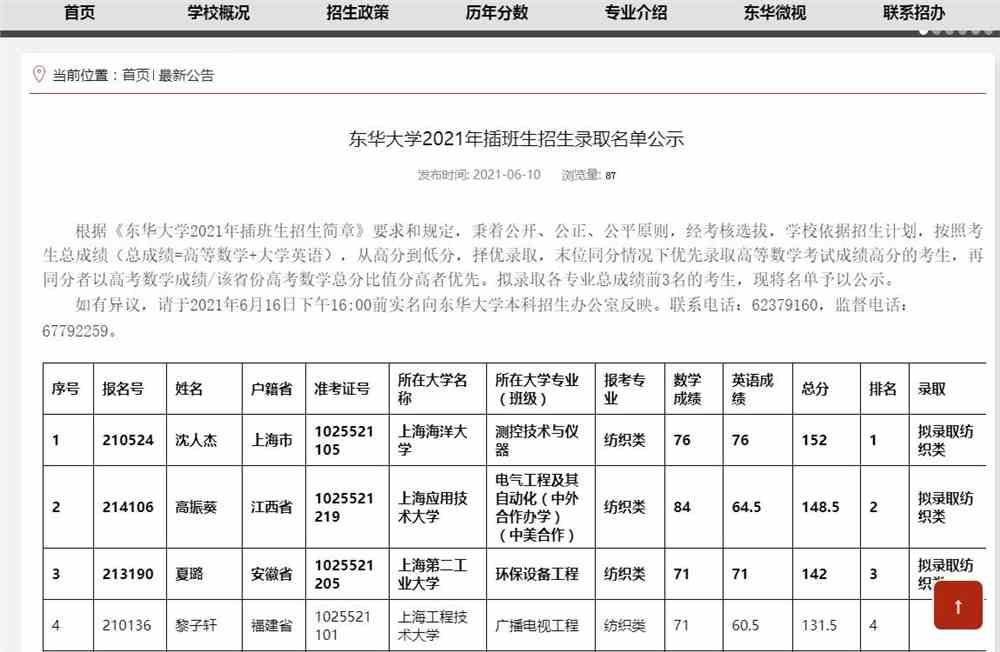 东华大学2021年插班生招生录取名单公示